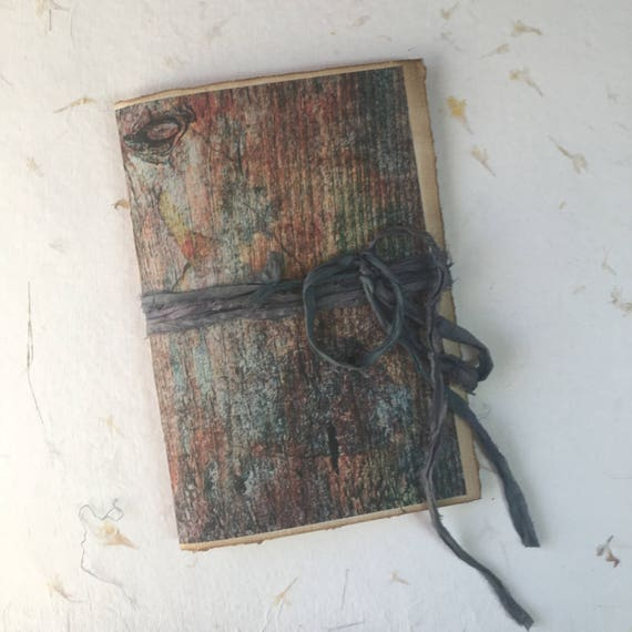 Paperback Writing Journal, Notebook, Blue and Red, Aged Barn Wood, Vintage Style Notebook, Travel Journal, Garden Journal, 9 x 6 inches