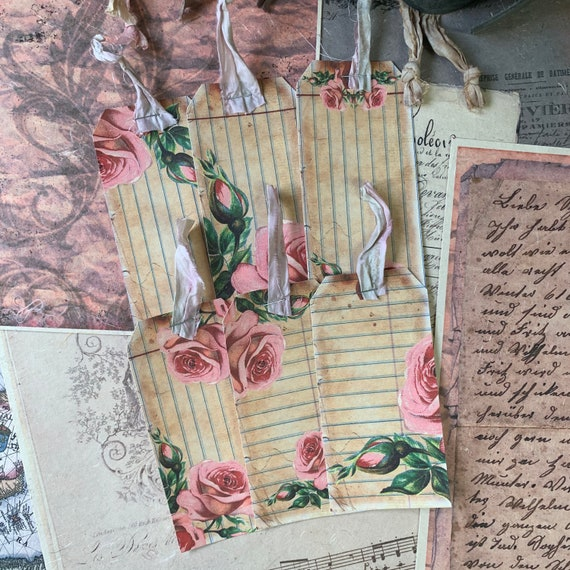Vintage Rose Tags, Ephemera Set, Gift Tags, Stationery Set, Junk Journal Kit, Travel Journal, Scrapbook Embellishments