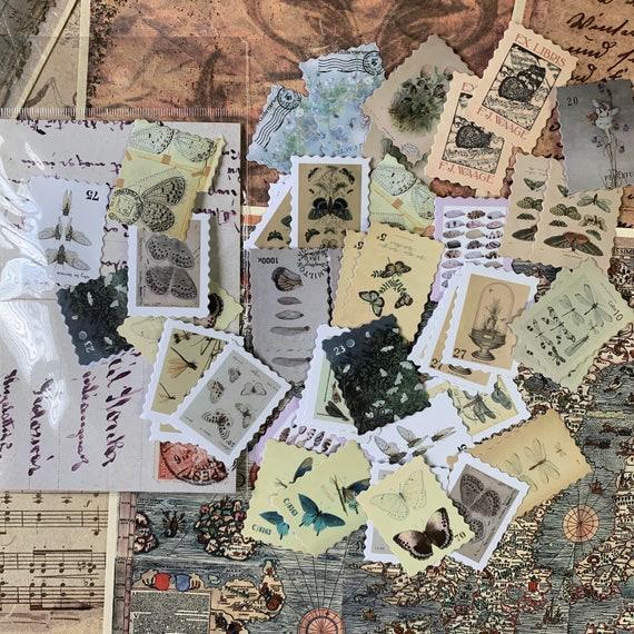 Vintage Moths and Butterflies Postage Stamps, Journal Stickers, Junk Journal Kit, Ephemera Set, Stationery, Travel Journal, Scrapbook