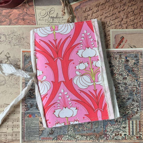 Pink and White Floral, Soft Cover, Boho, Junk Journal, Writing Journal, Notebook, Travel Journal, Nomad Collection, Unique Writing Journal