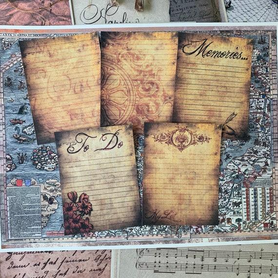 Grungy Journaling Cards, Ephemera Set, Memory Cards, Stationery Set, Junk Journal Kit, Travel Journal, Office and Writing, Scrapbook