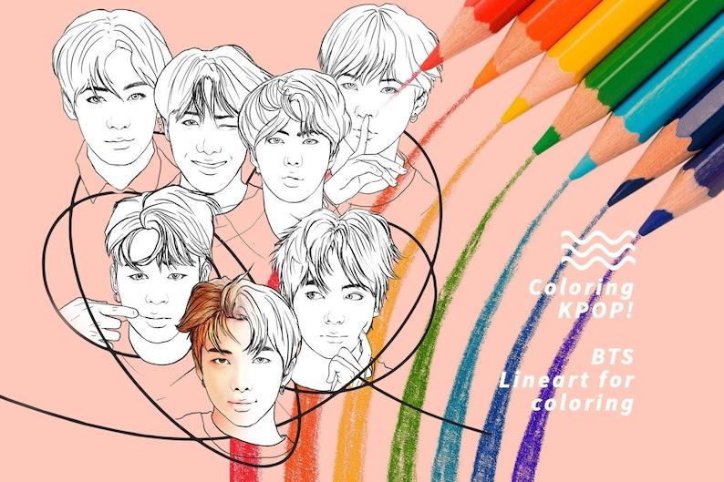 Coloring Kpop BTS Bangtan Boys Printable/Digital Lineart for image 0