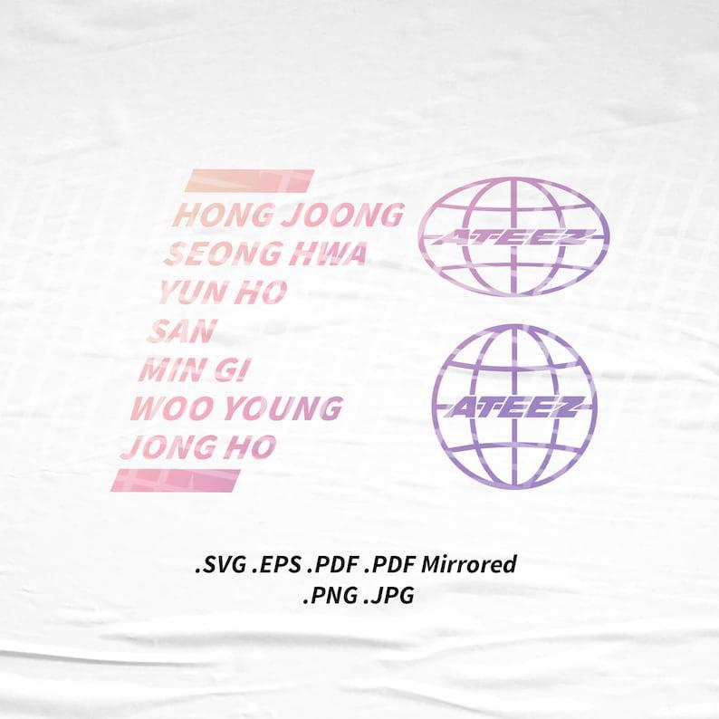 ATEEZ Member GLOBE Version Tshirt Slogan SVG Png Eps Pdf image 0