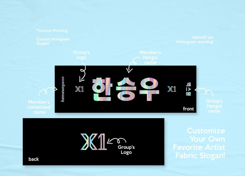 CREATE YOUR OWN 60x20cm Kpop Name Cheering Flex Fabric Slogan image 0