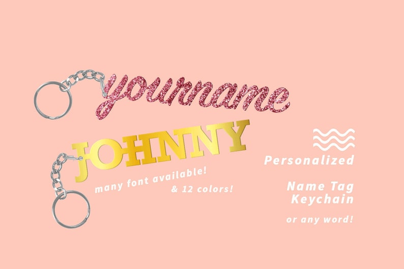 CREATE YOUR OWN Personalized Name Tag Keychain image 0