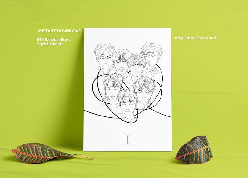 INSTANT DOWNLOAD BTS Bangtan Boys Printable/Digital Lineart image 0