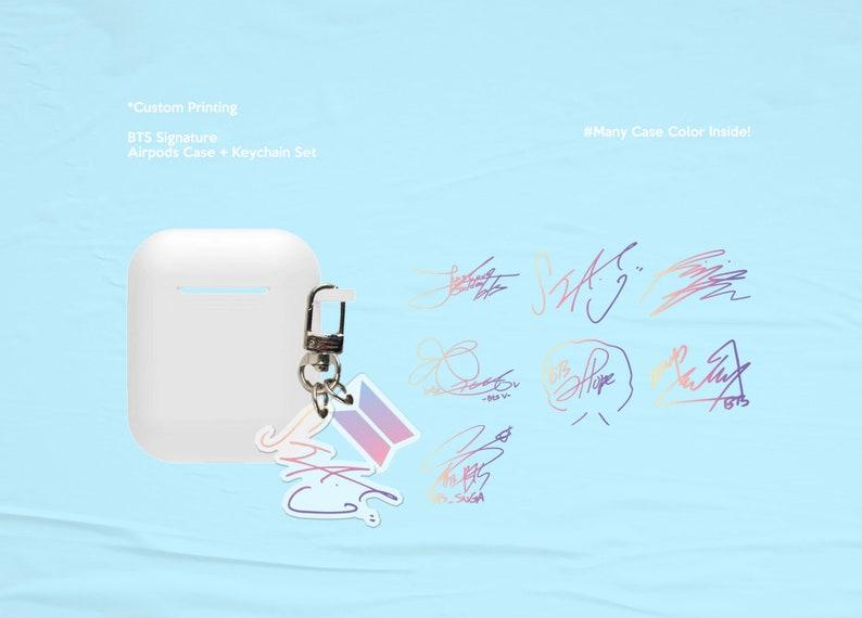 BTS Bangtan Boys Signature KeychainAirpods Case Set image 0