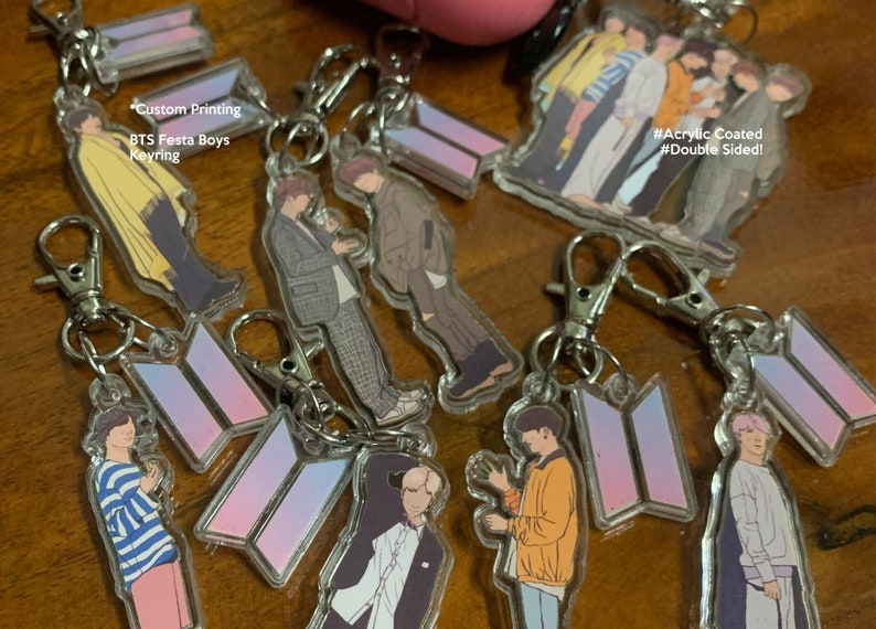 BTS Bangtan Boys Festa Illustration Keyring Keychain image 0