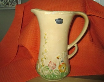 Kelsboro ware pitcher  made in England vintage vase pitcher with original label and markings on bottom reads made in England est 327