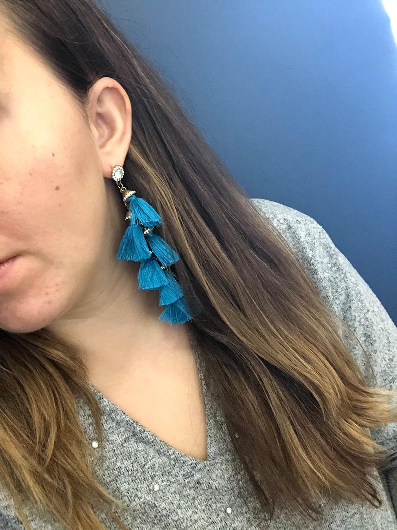 Red Statement Tassel Hanging Earrings