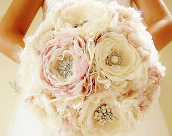 Fabric Brooch Bouquet, Fabric Flower Bouquet, Bridal Bouquet, Wedding, Light Pink/Blush and Off White/Ivory - this is a 50% DEPOSIT ONLY