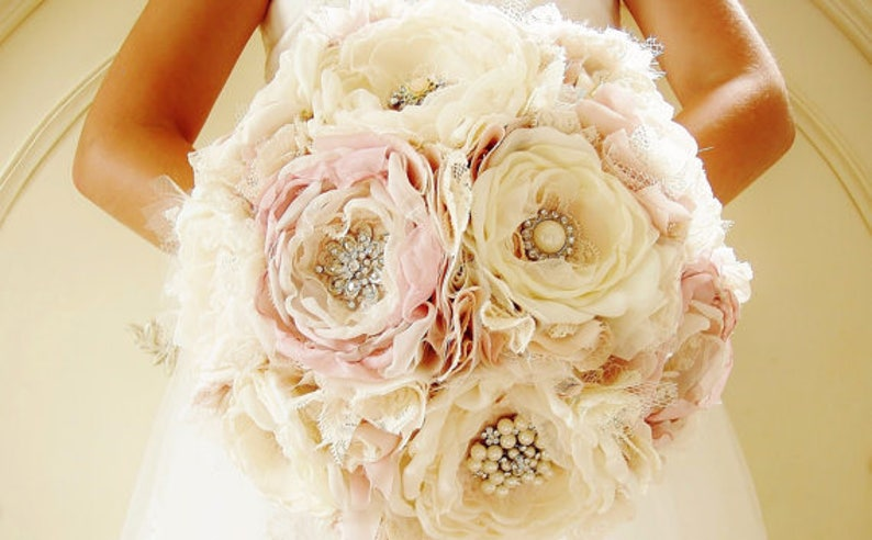 Ivory and Blush Brooch Bouquet Fabric Bouquet Bridal image 0