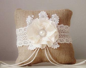 Burlap Ring Bearer Pillow, Rustic Wedding Pillow, Ivory Ring Bearer Pillow, Country Wedding Pillow, Ring Pillow