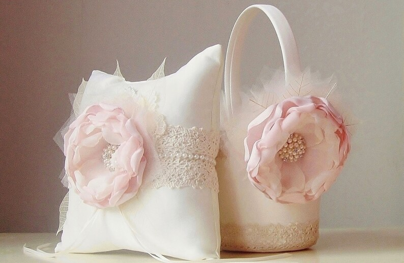 Blush Flower Girl Basket / Wedding Basket / Flower Girl Basket 1- Pink/Blush Flower