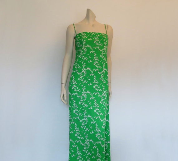 Tullo Lime Green Maxi Dress - 1970s - Bust 92 cm
