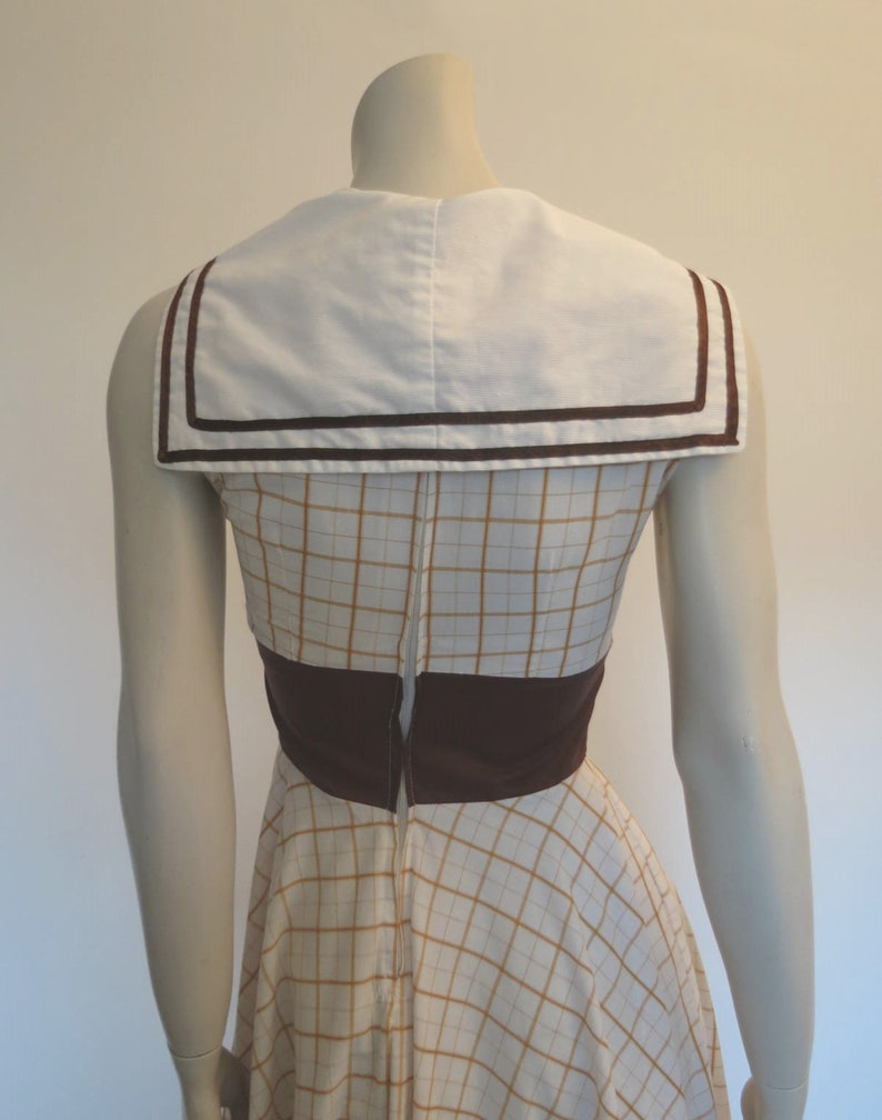 Bust 81 cm Brown Checked 50s Style Dress With Sailor Collar