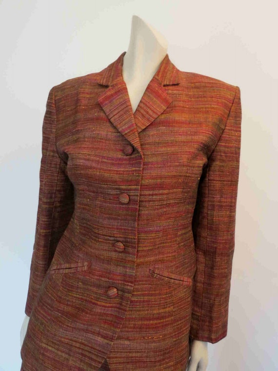 1980s Copper Silk Mini Skirt Suit by Sara D  - image 3