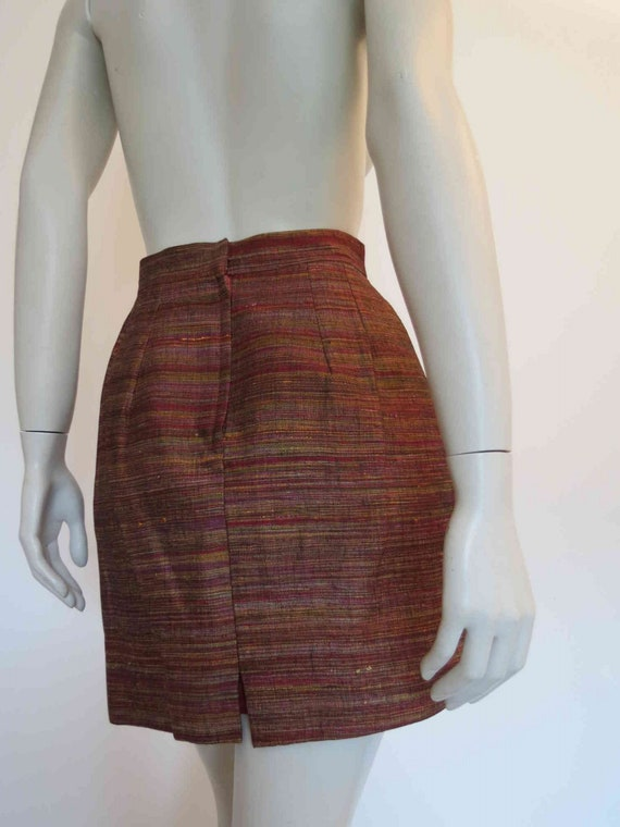 1980s Copper Silk Mini Skirt Suit by Sara D  - image 10