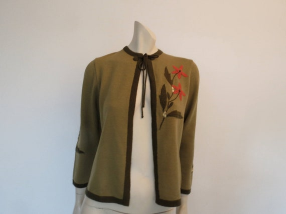 Prue Acton - Vintage Designer - Green Knit Jacket