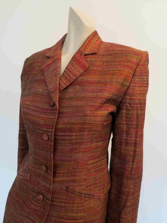 1980s Copper Silk Mini Skirt Suit by Sara D  - image 5