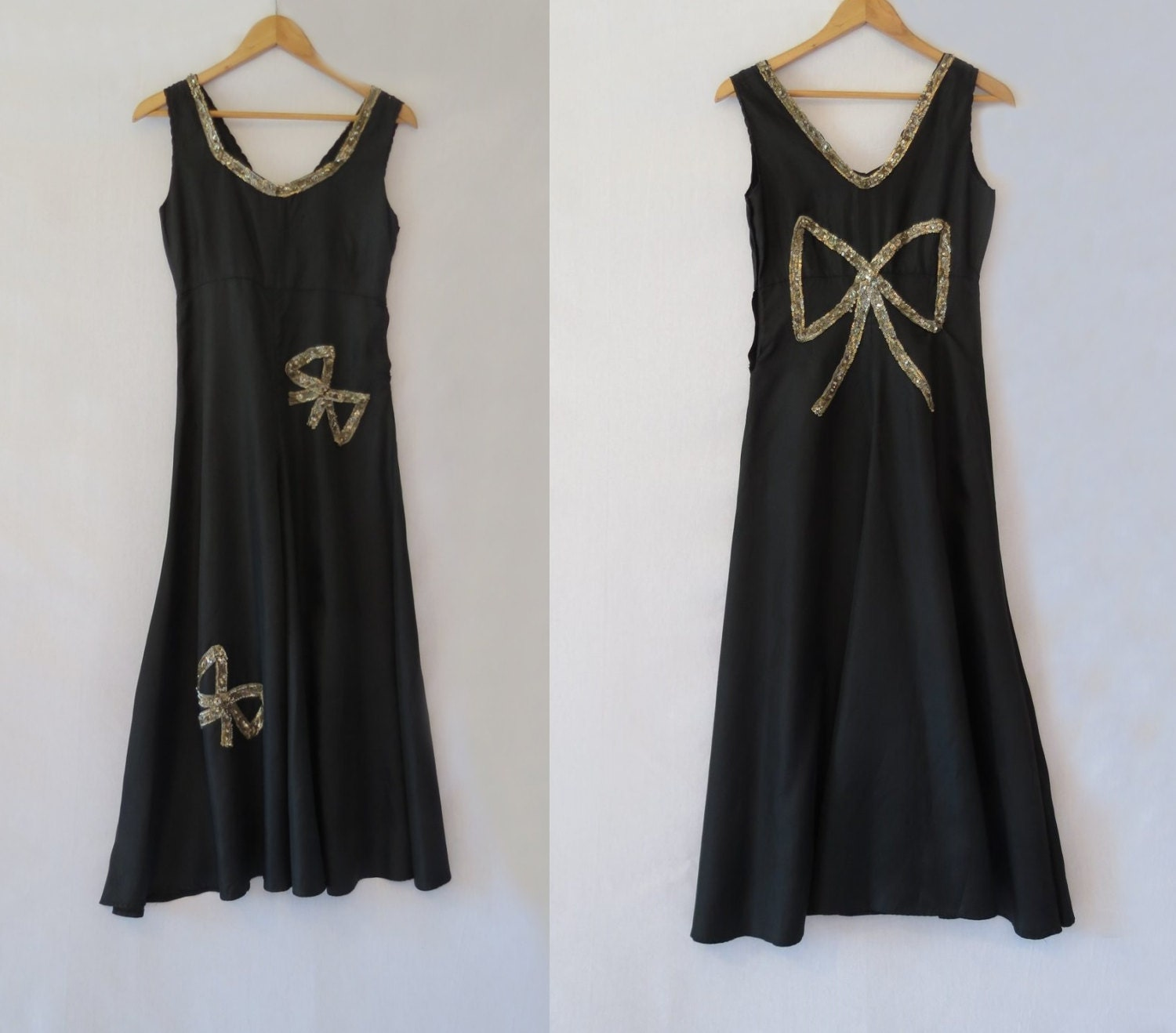 1930s Evening Dress or Formal Black Dress With Sequinned ...