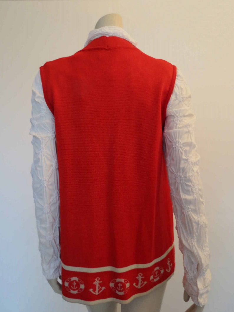 1970s Long Red Nautical Themed Vest by Javonne Bust 96 cm