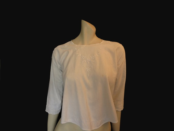 Antique, Edwardian, White Embroidered Top