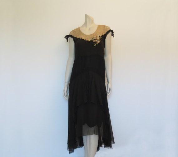 1920s Dress - Black Silk Georgette Dress With Embr