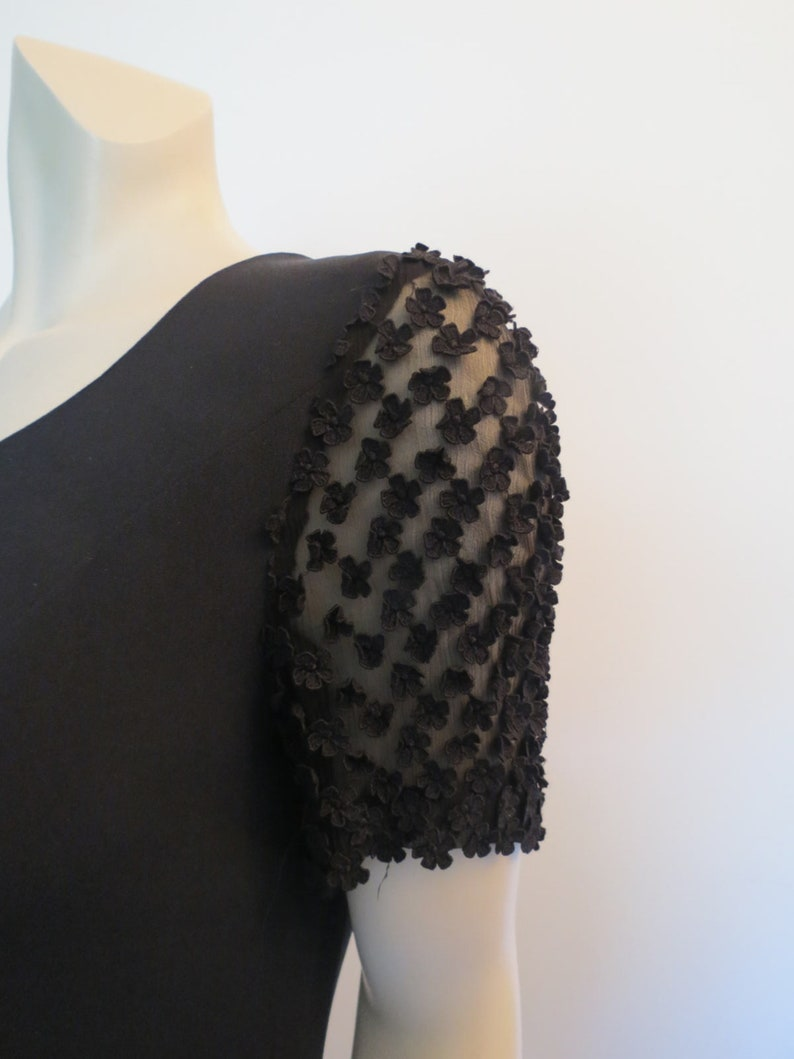 Louis Feraud Black Dress Sheer Sleeves With Floral Appliques 1980s Vintage Designer