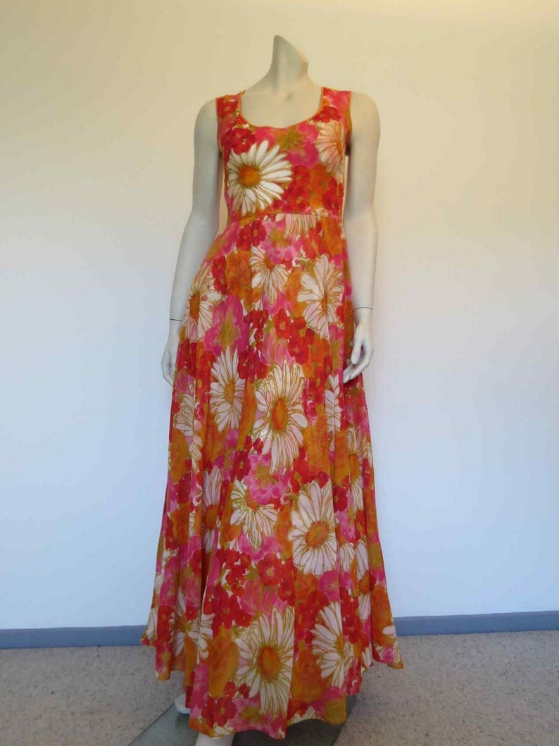 Pink /& Orange Floral Maxi Dress 1970s
