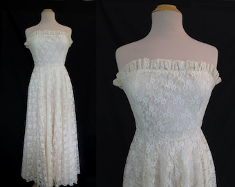 Vintage Dress  - 1950s Style Dress - Merivale Strapless Lace Dress With Circle Skirt - Bust 86 cm
