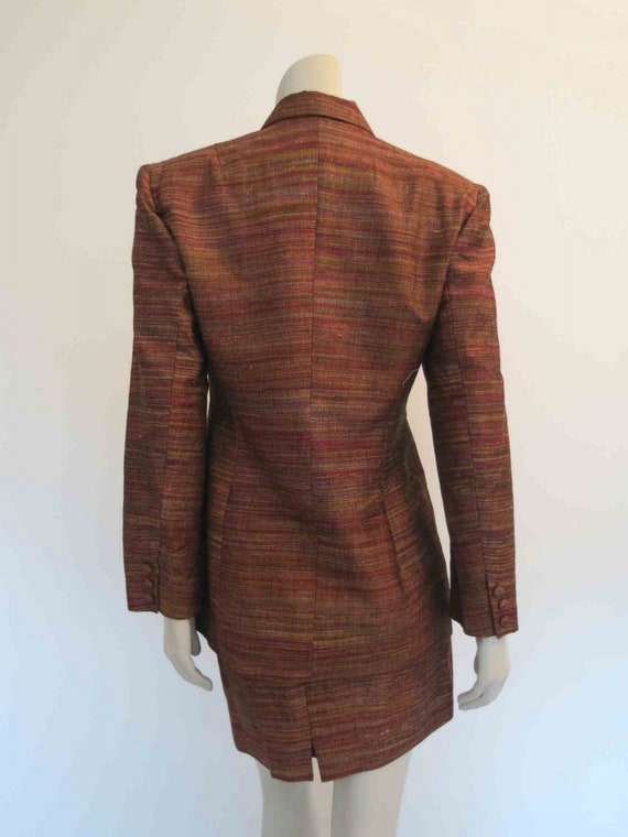 1980s Copper Silk Mini Skirt Suit by Sara D  - image 7