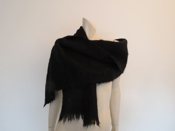 Black Mohair Wrap, Scarf - 1960s