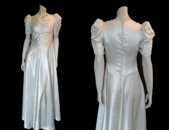 1930s Satin Damask Wedding Dress With Puffy Sleeve
