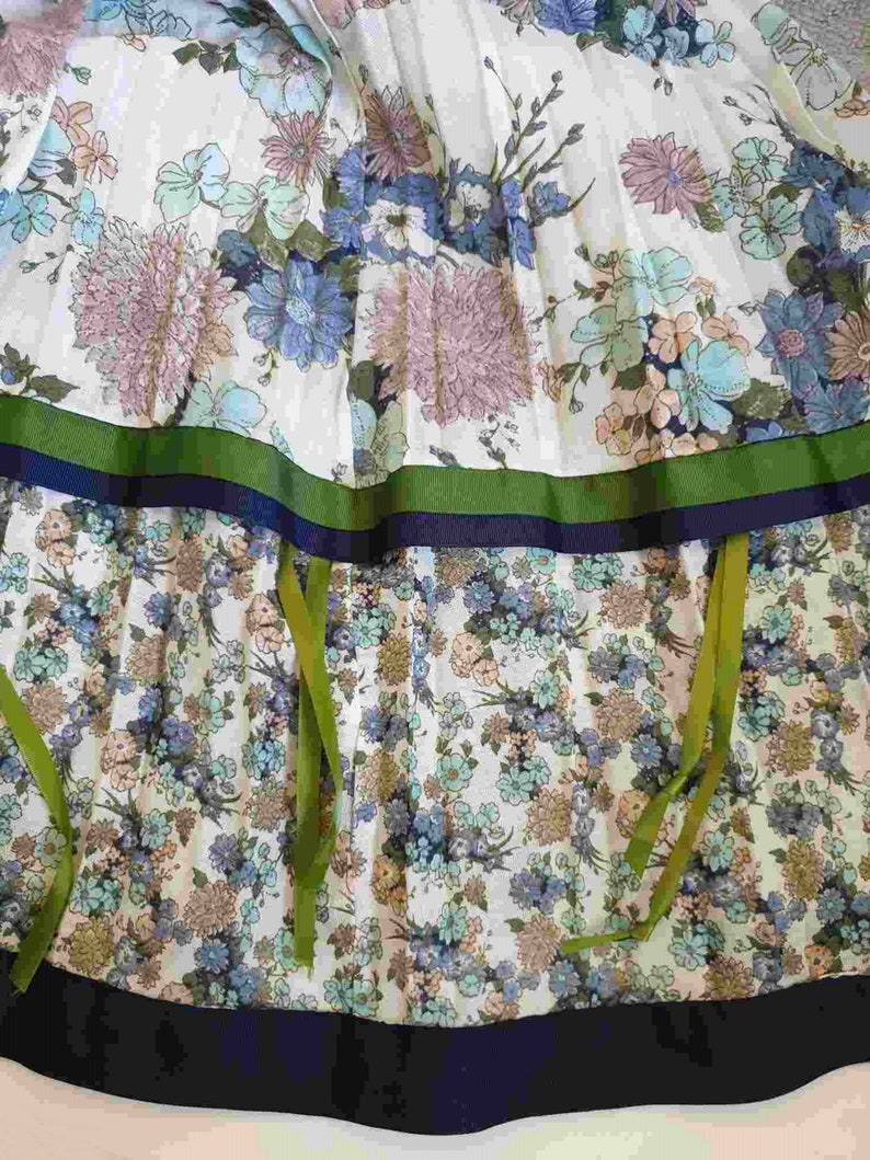 1970s Gypsy or Peasant Skirt Pleated Floral Maxi Skirt by Chessa Davis