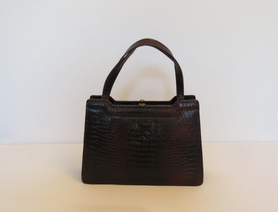 1950s Crocodile Effect Leather Bag - 1950s