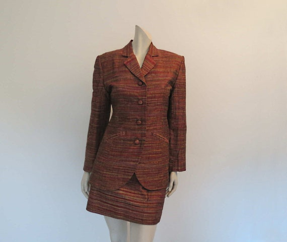 1980s Copper Silk Mini Skirt Suit by Sara D  - image 1