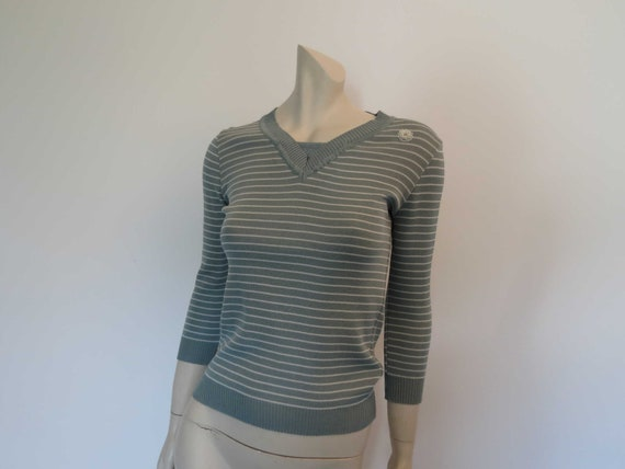 1970s Prue Acton Sage Green Striped Jumper With Be