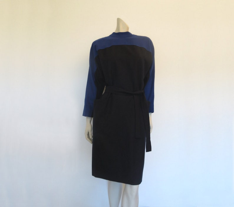 Guy Laroche Vintage Designer Electric Blue and Black Wool Dress 1980s Bust 91 cm