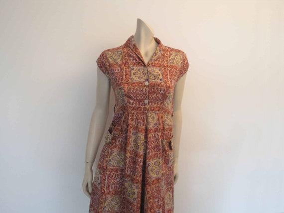 Salmon Cotton Print Dress - 1950s - Bust 81 cm
