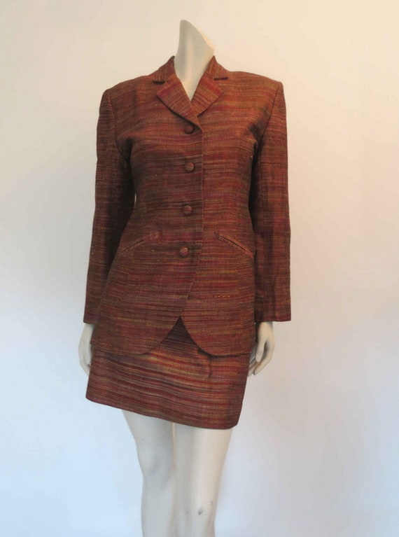 1980s Copper Silk Mini Skirt Suit by Sara D  - image 2