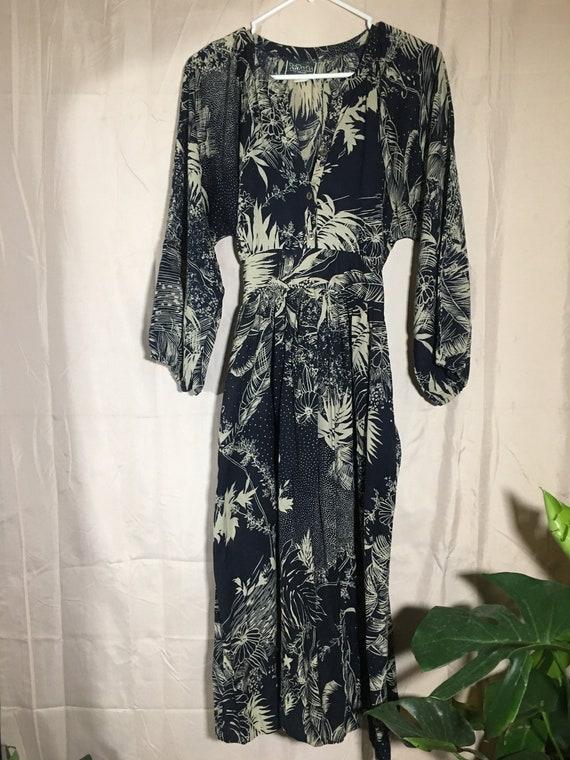 Long Sleeved Tropical Vintage Dress