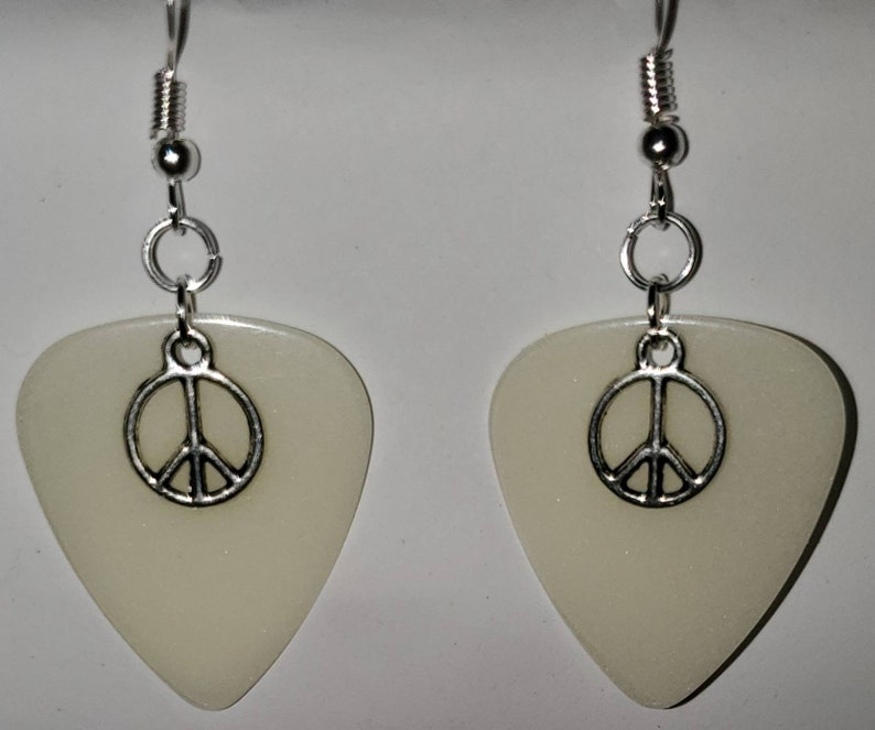 Green Glow In The Dark Guitar Pick Earrings W Peace Sign Charms