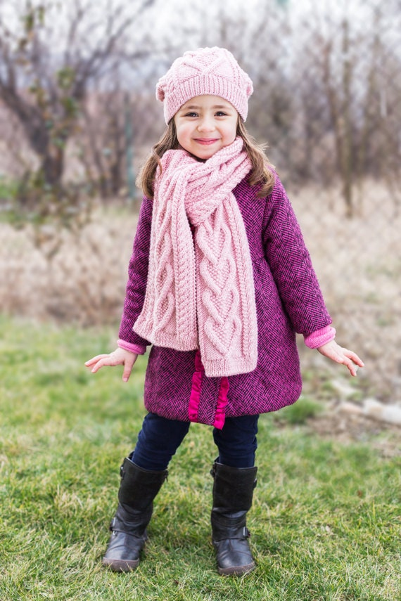 Pdf Knitting Pattern Hearts Scarf Kids Scarf Child Etsy