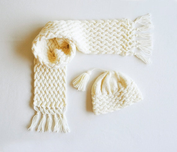 Pdf Knitting Pattern Cabled Scarf Hat Baby Hat Baby Etsy