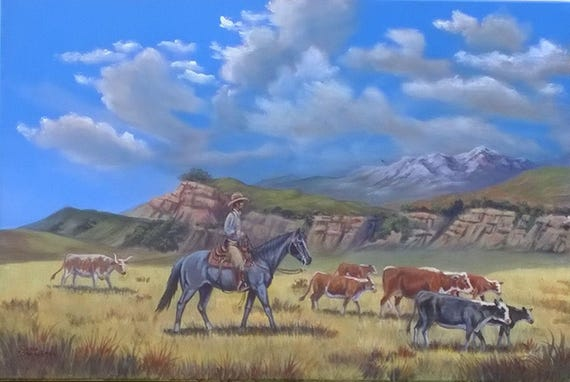 Western Art Painting Cattle Drive Acrylic Painting 24x36 Inches Barnwood Frame Cowboy Western Longhorn Cow Free S H