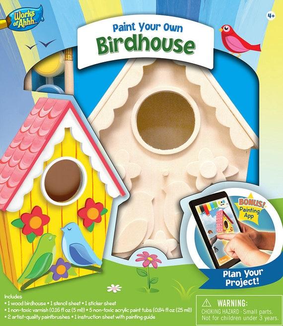 Paint Your Own Bird House Kit Garden Art Birdhouse Art Crafts For Kids Childrens Craft Kit Diy Birdhouse Kit