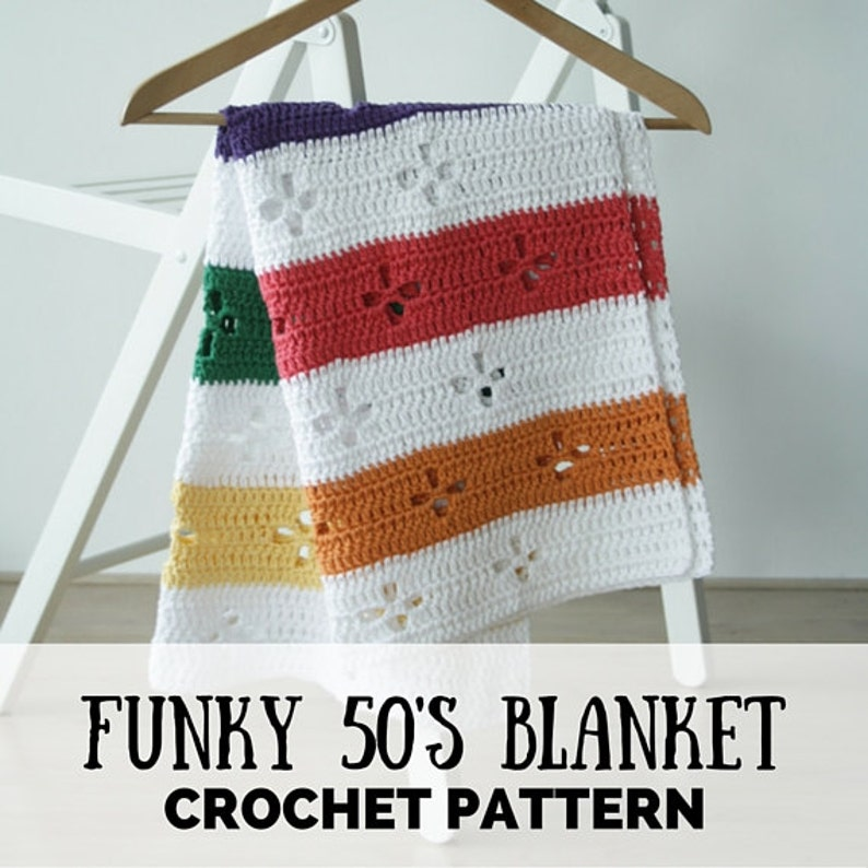 Funky fifties retro blanket: crochet pattern PDF retro image 0