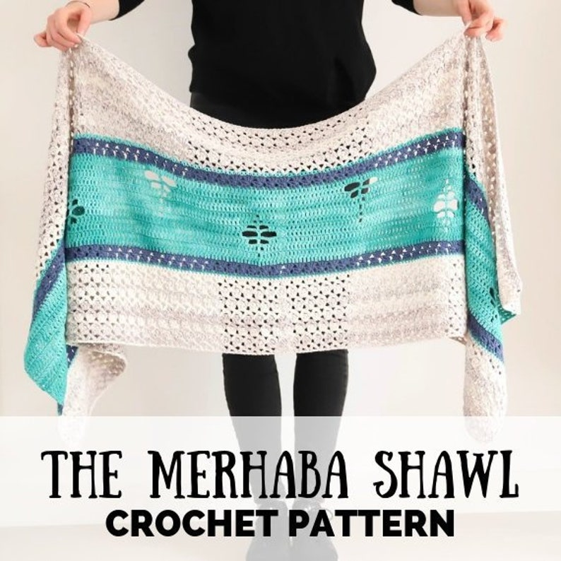Crochet shawl pattern crochet pattern The Merhaba Shawl image 0