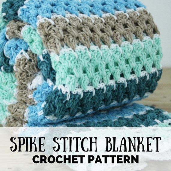 Spike Stitch Blanket Crochet Pattern Pdf Crochet Pattern Etsy